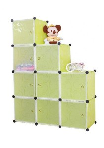 Tupper Cabinet 9 Cubes Green Flower L-Shape Decorative DIY Cabinet