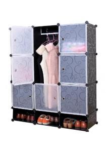 Tupper Cabinet 12 Cubes Black Stripes DIY Wardrobe With Shoe Rack