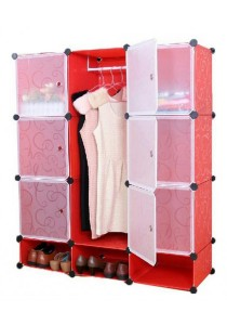 Tupper Cabinet 12 Cubes Red Stripes DIY Wardrobe With Shoe Rack
