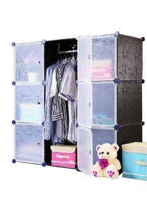 Tupper Cabinet 9 Cubes White Stripes Doors Black Stripes 2-Hangers DIY Wardrobe