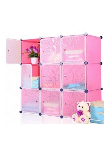 Tupper Cabinet 9 Cubes White Stripes Doors DIY Storage Cabinet - Pink