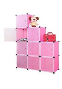 Tupper Cabinet 9 Cubes Pink Color L-Shape Decorative DIY Cabinet