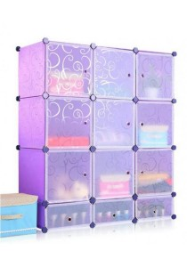 Tupper Cabinet DIY Cabinet With 3 Door Mini Bottom 12 Cubes Purple Stripes