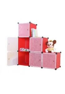 Tupper Cabinet 9 Cubes Red Stripes L-Shape Decorative DIY Cabinet