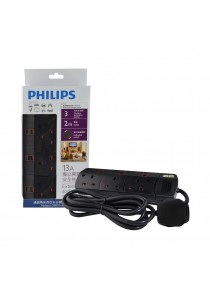 Philips 3 Gang Way with Individual Switch Power Extension Plug Sockets Black (2m cable) (Heavy Duty)
