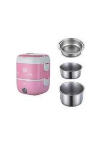 3-Layer Lunch Box Steamer Warmer (Pink)
