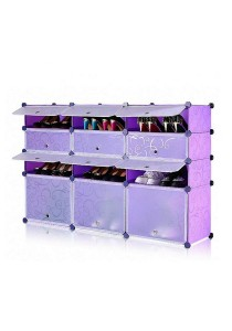 Tupper Cabinet 4 Tier 12 Cubes Purple Stripes DIY Shoe Rack