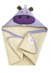 3 Sprouts 100% Cotton Hooded Towel Purple Hippo