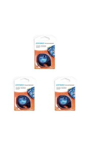 3 X DYMO Black on Blue LetraTag Plastic Tapes Personal Label Maker