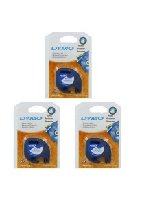 3 X DYMO Black on White LetraTag Plastic Tapes Personal Label Maker