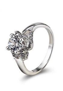 OUXI Swarovski Zirconia Diamond Flower Ring (Size 13)