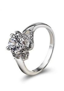 OUXI Swarovski Zirconia Diamond Flower Ring (Size 13)