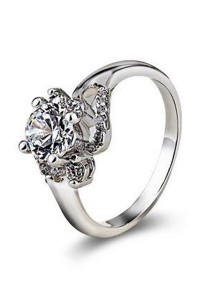 OUXI Swarovski Zirconia Diamond Flower Ring (Size 16)
