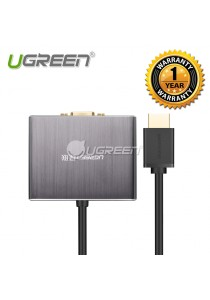 UGREEN HDMI To VGA With 5.1 SPDIF Optical Fiber Port And 3.5MM Audio Converter- 40282
