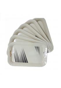 Idea Melamine Serving Trays Plastic Pattern Black 6 Pcs (16.5 inch)