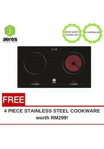 AERES EZ Cook Premium Induction and Infrared Double Cooker (Black) + FREE 4pc Cookware