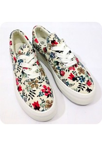 Blue Floral Canvas Shoes