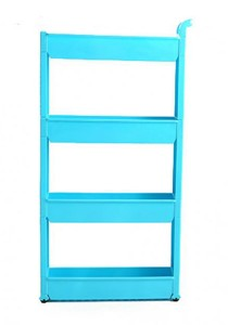 FASHION TEE Storage Rack with Handle and Wheels 4 Tiers (Blue)