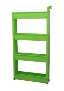 FASHION TEE Storage Rack with Handle and Wheels 4 Tiers (Green)