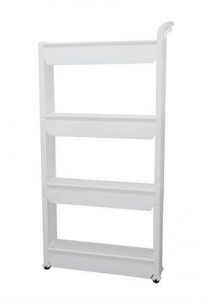FASHION TEE Storage Rack with Handle and Wheels 4 Tiers (White)