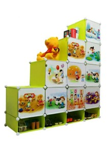 Tupper Cabinet 14 Cubes DIY Fruit Cartoon(Story) L-Shape Storage With Mini Bottom Green