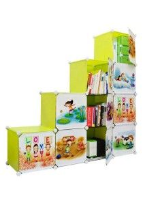 Tupper Cabinet 10 Cubes DIY Fruit Cartoon(Story) L-Shape Storage With 6 IRON FRAME