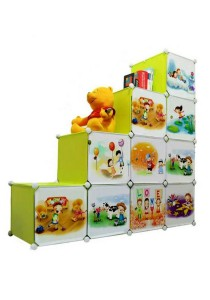 Tupper Cabinet 10 Cubes DIY Fruit  Cartoon(Story) L-Shape Storage Cabinet Green