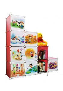 Tupper Cabinet 10 Cubes DIY Stripes Cartoon(Story) L-Shape Storage With 6 Iron Frame