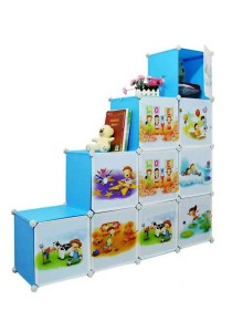 Tupper Cabinet 10 Cubes DIY Sky Cartoon(Story) L-Shape Storage Cabinet Blue