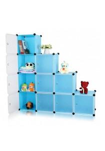 Tupper Cabinet 10 Cubes Blue Flower L-Shape DIY Decorative Shelf
