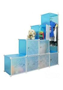 Tupper Cabinet 10 Cubes 1-Hanger Sky Blue L-Shape DIY Wardrobe