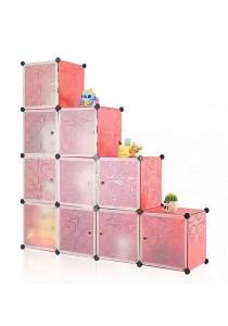 Tupper Cabinet 10 Cubes Red Stripes L-Shape DIY Decorative Shelf