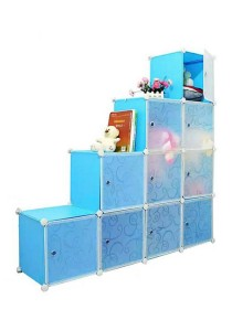 Tupper Cabinet 10 Cubes Sky Blue L-Shape DIY Decorative Shelf