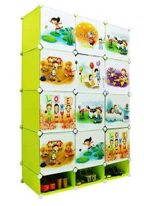 Tupper Cabinet 15 Cubes DIY Fruit Cartoon(Story) L-Shape Storage With Mini Bottom Green
