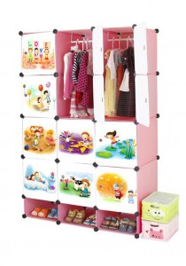 Tupper Cabinet 15 Cubes Pink Color DIY Cartoon (Story) Wardrobe With Shoe Rack