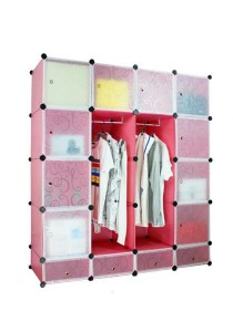 Tupper Cabinet 20 Cubes 10 Doors DIY Wardrobe with Shoe Rack - Pink