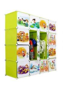 Tupper Cabinet 16 Cubes Doors Fruit Green Cartoon DIY Wardrobe