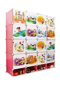 Tupper Cabinet 20 Cubes DIY Pink Color Cartoon Storage With Mini Bottom