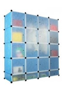 Tupper Cabinet 20 Cubes Blue Flower DIY Wardrobe With Shoe Rack