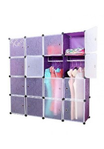 Tupper Cabinet DIY Wardrobe 16 Cubes Doors Stripes (White/Purple)