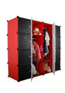 Tupper Cabinet 16 Cubes Mix Doors Stripes DIY Wardrobe (Red Stripes)