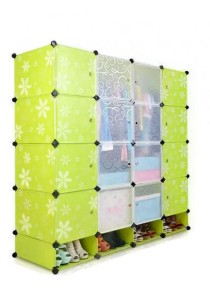 Tupper Cabinet 20 Cubes DIY Wardrobe With Shoe Rack - Green Flower