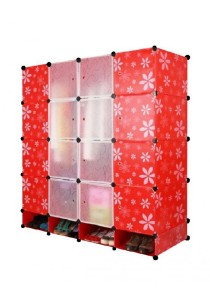 Tupper Cabinet 20 Cubes Red Flower DIY Wardrobe With Shoe Rack