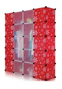 Tupper Cabinet 20 Cubes Wardrobe - White Red