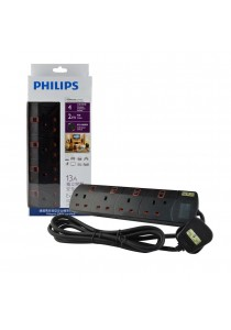 Philips 4 Gang Way with Individual Switch Power Extension Plug Sockets Black(2m cable) (Heavy Duty)