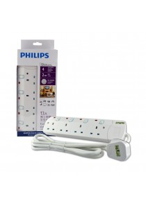 Philips 4 Gang Way with Individual Switch Power Extension Plug Sockets White (2m cable) (Heavy Duty)
