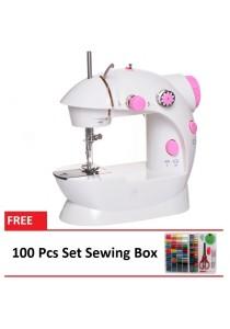4-in-1 Dual Speed Portable Handheld Mini Sewing Machine + 100 Pcs Set Sewing Box