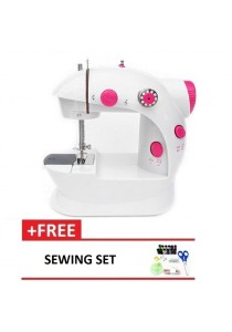 4-in-1 Dual Speed Portable Handheld Mini Sewing Machine (Red) + Sewing Set