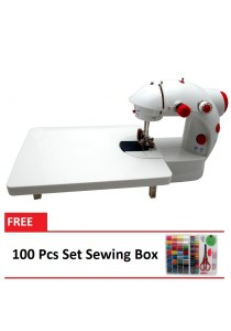 4-in-1 Dual Speed Portable Handheld Mini Sewing Machine With Expansion Board (Red) + 100 Pcs Set Sewing Box