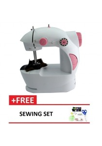 4-in-1 Mini Sewing Machine Pink + Sewing Set
